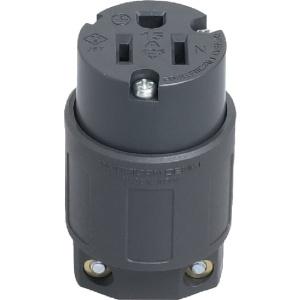 アメリカン電機 コードコネクタボディ 平刃形 接地形2P 15A 125V 圧着端子式 ナイロンカバータイプ NEMA(5-15)規格 黒色 7114GN