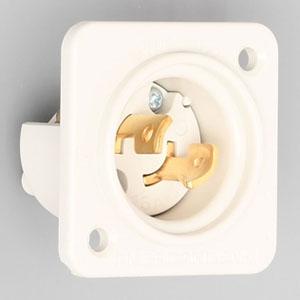 アメリカン電機 フランジインレット 引掛形 2P 15A 125V 圧着端子式 ナイロンケースタイプ 2115N