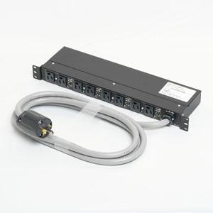 アメリカン電機 1Uコンセントバー 抜止形・8ヶ口 接地形2P 30A 125V 30A(NEMA L5-30)入力プラグ 15Aサーキットプロテクター付 HKC2730PT