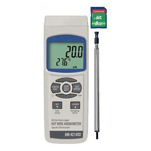 マザーツール デジタル風速計 SDスロット搭載 データロガ機能付 熱線式 熱電対温度計(typeK/J)測定可能 AM-4214SD
