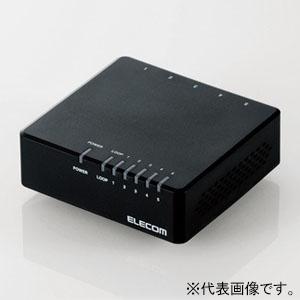 ELECOM スイッチングハブ 100BASE-TX対応 プラスチック筐体 電源外付けタイプ 5ポート エコ省電力タイプ ループ検知機能搭載 マグネットなし ブラック EHC-F05PA-B