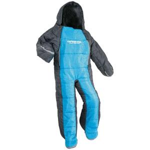 パール金属 洗える人型シュラフ140ジュニア 着るタイプ 寝袋 約58×140cm 収納バック付 ブルー×グレー 《CAPTAIN STAG》 UB-12