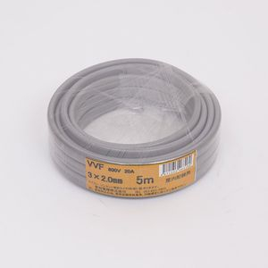 愛知電線 VVF ケーブル3心 2.0mm 5m 灰色 VVF3×2.0M05