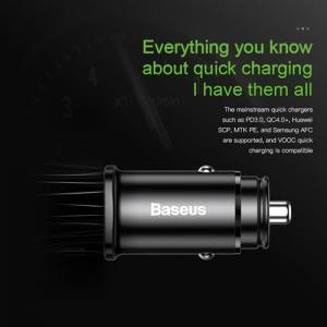 電材堂 カーチャージャー 角型 30W USB1ポート+Type-C1ポート PD・急速充電対応 ブラック DCCALL-AS01