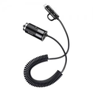 電材堂 カーチャージャー ケーブル付 ライトニングコネクト付 DCCALL-EL01