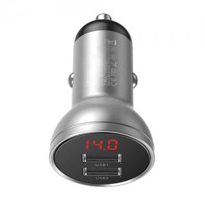 電材堂 カーチャージャー 24W USB2ポート デジタルディスプレイ付 出力最大4.8A シルバー DCCBX-0S