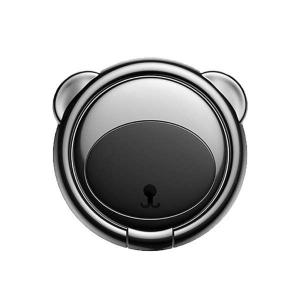 電材堂 スマートフォンリング ベアータイプ スタンド機能 落下防止 車載ホルダー ブラック DSUBR-01