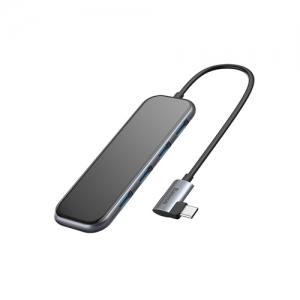 電材堂 USBハブアダプター Type-C用 USB3.0×4+PD グレー DCAHUB-EZ0G
