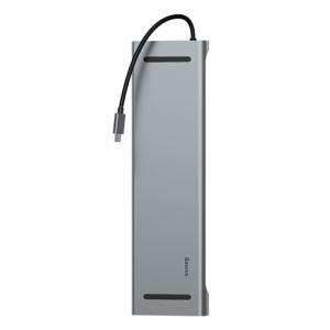 電材堂 マルチ変換ハブアダプターType-C用 《Enjoyシリーズ》 PD/HDMI4K×2/VGA/RJ45/SD/microSD/USB×3 ダークグレー DCATSX-G0G