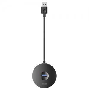 電材堂 USBハブアダプター ラウンドボックス形 USB 3.0用 USB3.0×1+USB2.0×3 長さ25cm ブラック DCAHUB-F01