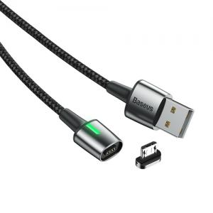 電材堂 マグネットケーブル USB-Micro 長さ2m ブラック DCAMXC-B01