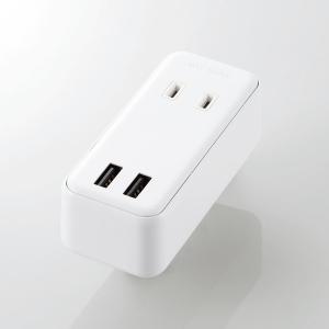 ELECOM USBタップ USBメス×2 AC×2 直刺し ケーブル無 2.4A ホワイト MOTU0722WH