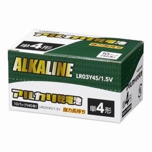 電材堂 【お買い得品40本セット】アルカリ乾電池 単4形 4本パック×10 シュリンクパック 【お買い得品40本セット】アルカリ乾電池 単4形 4本パック×10 シュリンクパック LR03Y4SDNZ