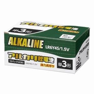 電材堂 【お買い得品 40本セット】アルカリ乾電池 単3形 4本パック×10 シュリンクパック LR6Y4SDNZ
