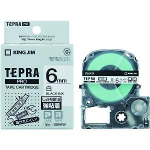 キングジム テプラPROテープ強粘着タイプ白/黒文字 SS6KW