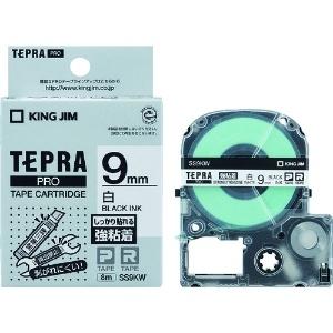 キングジム テプラPROテープ強粘着タイプ白/黒文字 SS9KW