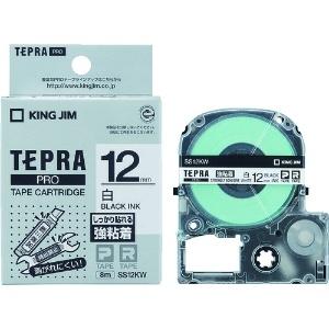 キングジム テプラPROテープ強粘着タイプ白/黒文字 SS12KW