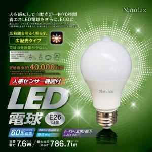 ヒロコーポレーション 人感センサー機能付LED電球 一般電球形 60W形相当 昼光色 口金E26 HJK-60EL