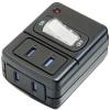 電材堂 集中スイッチ付雷サージタップ 2個口 ブラック FUSK210BKDNZ