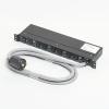 アメリカン電機 1Uコンセントバー 抜止形・8ヶ口 接地形2P 30A 250V 30A(NEMA L6-30)入力プラグ/15A(NEMA L6-15)出力コンセント 15Aサーキットプロテクター付 HKC2650PT